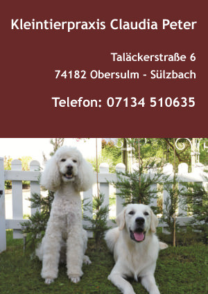 Visitenkarte Kleintierpraxis Claudia Peter Obersulm