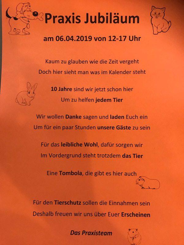 10-jähriges Prxisjubiläum Kleintierpraxis Claudi Peter Obersulm-Sülzbach